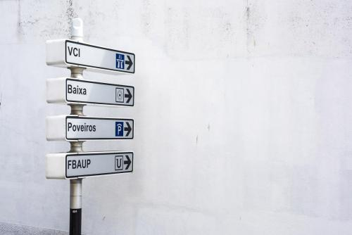 Signs towards a white wall