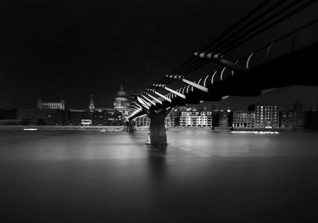 Long exposure of Millennium Bridge, London
